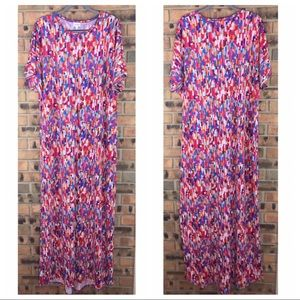 LuLaRoe Size 3XL Maxi Dress Multicolor Geometric